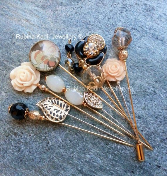 HIJAB PIN - Black Orchid, Empress Collection.   Set of 10 Mixed Pins:   Mixture of Pave set flower pin, resin, Czech and Chinese Crystal pins and some unique filigree gold plated pins