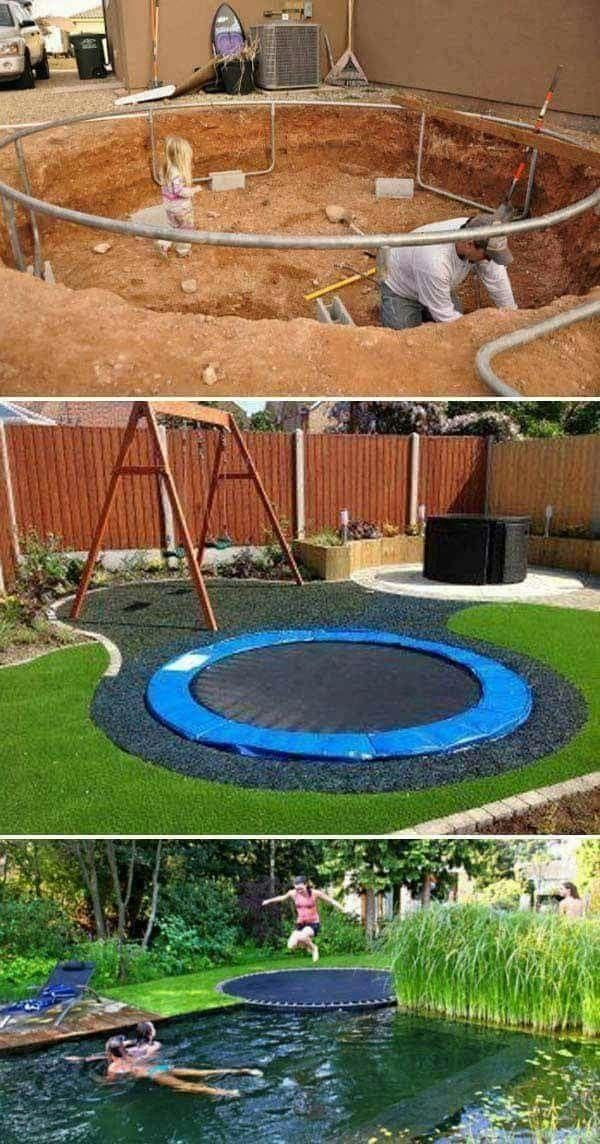 Trampolin In Garten Integrieren Backyardtrampolineideassinks Hintergarten Kinderspielbereich Garten Spielplatz