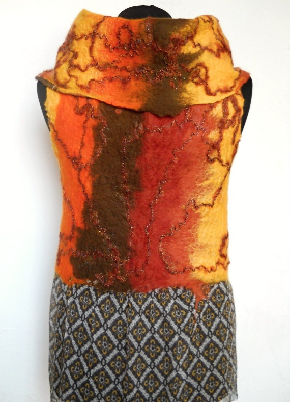 Vest felted felt wool brown yellow orange nuno by FeltNunoFelted, $105.00