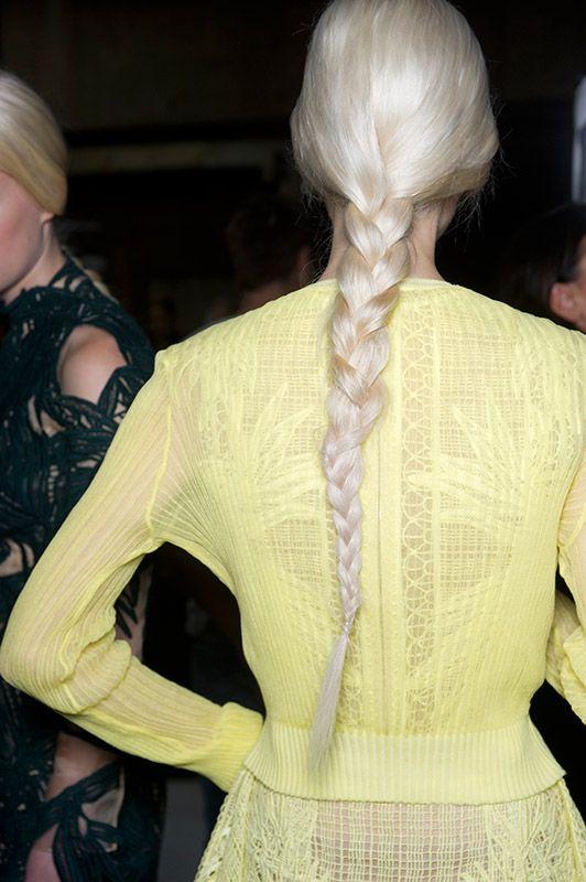SS15 Erdem braid hairstyle white platinum blonde
