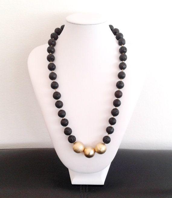 lava necklacehandmade necklaceblack necklaceblack lava by tizianat