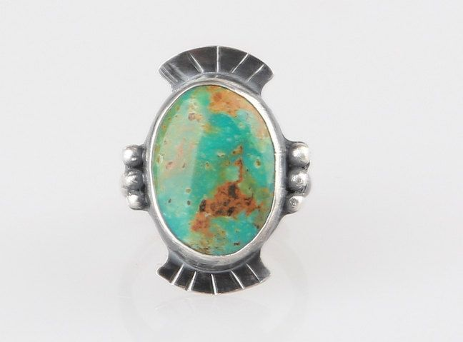 Turquoise Ring, Kingman Turquoise Ring,Handmade Turquoise Sterling Ring, Blue Turquoise US size 5.5 by AtThursday on Etsy