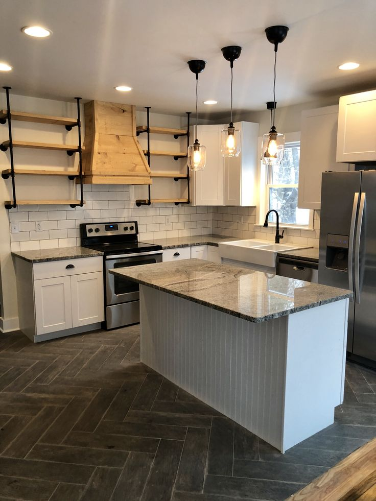 kitchen remodel open shelving wooden range hood farmhouse sink chevron floors kitchen on kitchen remodel floor id=91379