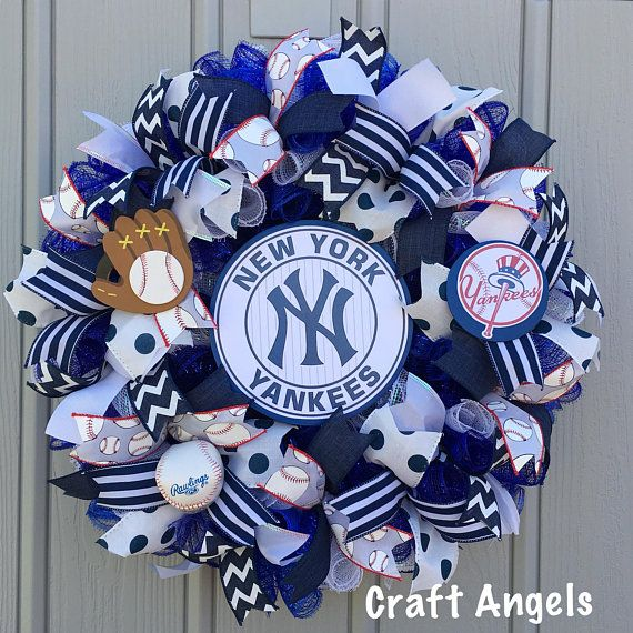 New York Yankees Baseball Wreath Handmade Deco Mesh
