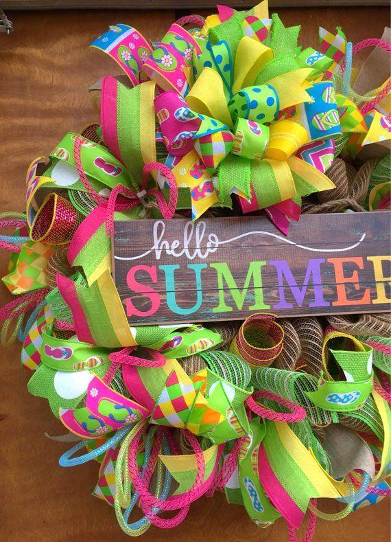 e4a702874f4696 Hello Summer Wreath Flip Flop Wreath Summer Flip Flop