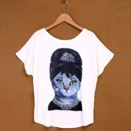 Hot Fashion Women O-Neck Short Batwing Sleeve Animal and Character Print Plus Loose Casual Tops Blouse T-shirt