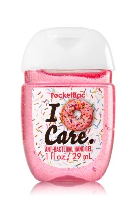 I Donut Care - PocketBac Sanitizing Hand Gel - Bath & Body Works - Now with more happy! Our NEW PocketBac is perfectly shaped for pockets & purses, making it easy to kill 99.9% of germs when you're on-the-go! New, skin-softening formula conditions with Aloe & Vitamin E to leave your hands feeling soft and clean.