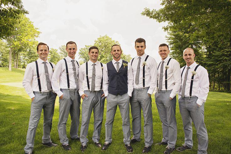 Groomsmen in Gray Slacks and Black Suspenders
