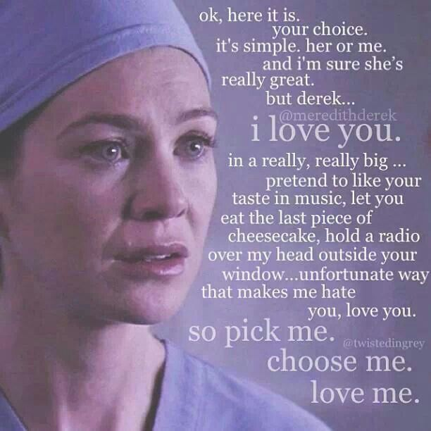 Oh I love when Meredith confesses her love to McDreamy.