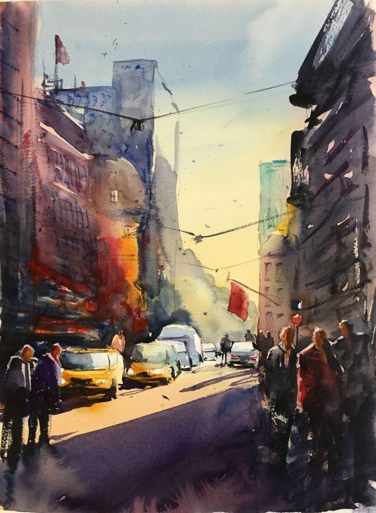 Busy Street, watercolor, Stefan Gadnell, SOLD