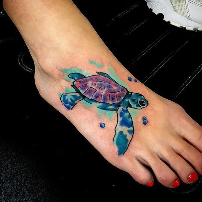 Colorful Turtle Tattoos Designs On Foot Turtle Tattoo Designs Foot Tattoos Tattoos For Women