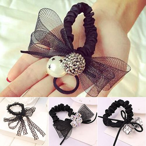 2016 Black Lace Bow Tie Hair Band Rope Scchie Ponytail Holder Headband Headwear  8MEY