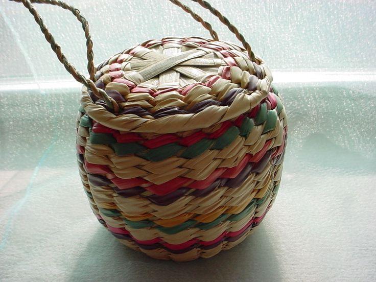 Vtg Round Basket Purse with Color Stripes Renaissance Garb accent 5 inch #Unbranded