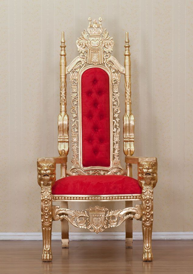 Gold Lion King Throne Chair Red Upholstery King Chair