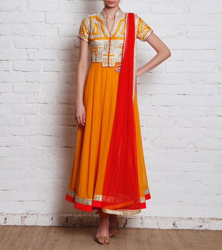 #Golden Mustard Georgette #Anarkali #Suit with Gota Work by #Sonia #Saxena at #Indianroots