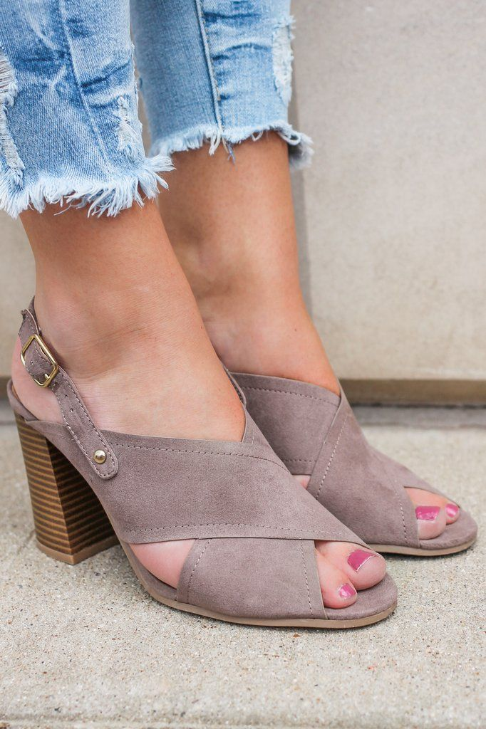 Devin-11 Faux Suede Heeled Sandals - Online Clothing Boutique