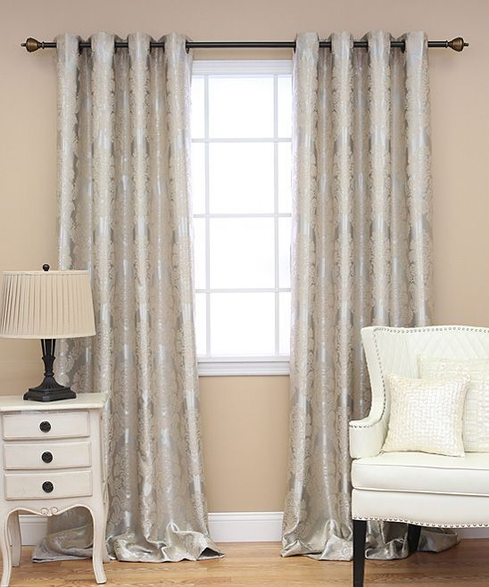 Beige Traditional Damask Curtain Panel - Set of Two