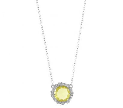 Sterling silver pendant with peppered texture and round faceted Lemon Quartz drop. Stone size 10mm. Other stones are available. http://mounir.co.uk/collections/sunflower/4734_lemon_quartz_pendant