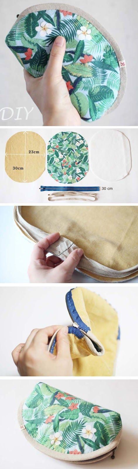 Small Makeup Bag.  Sewing Pattern & Photo Tutorial   http://www.handmadiya.com/2016/07/small-makeup-bag-diy.html