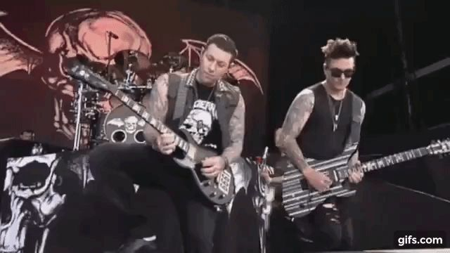 Synyster Gates, Zacky Vengeance and Johnny Christ A7X gif