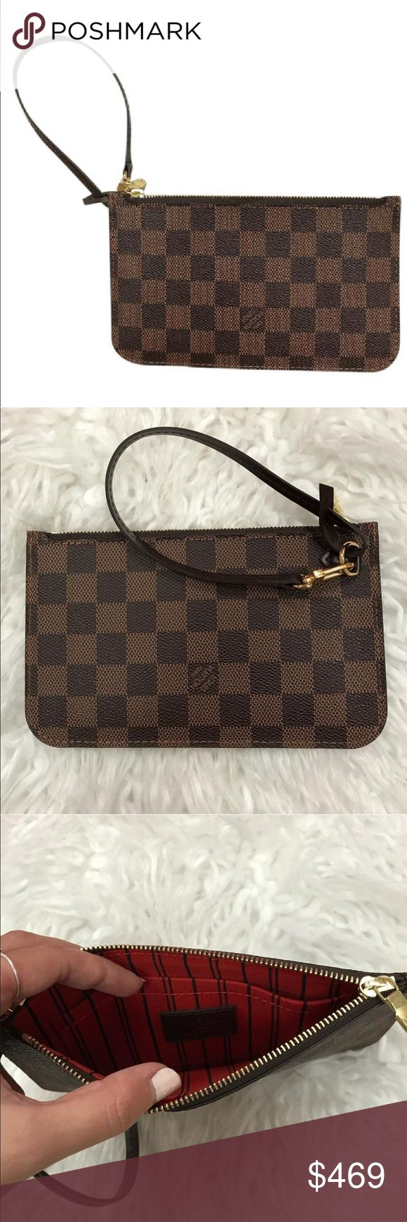 Louis Vuitton Damier Neverfull Pouchette Brand new condition - removable strap - zip closure - date code AR1166 - 7.5x4.75 - Price firm no trades - buy for less & more pics at www.chicboutiqueconsignments.com! MA's #1 designer consignment boutique! Louis Vuitton Bags Clutches & Wristlets