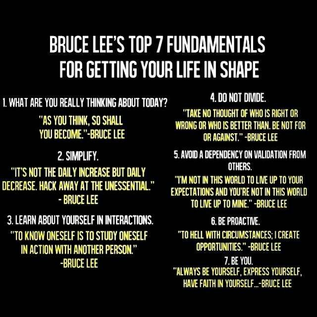 Bruce Lee's top 7 fundementals for getting your life in shape