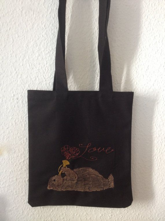 Bear Embroidery Tote bag by BonitoFracaso on Etsy@etsy #etsy #tote bag #black #embroidery #hearth