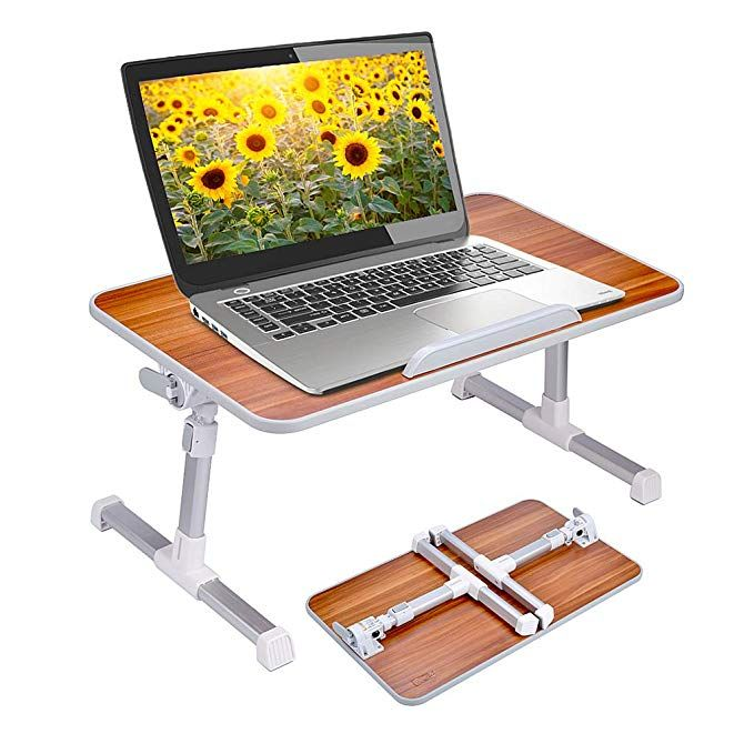 Amazon Com Abovetek Folding Laptop Table Stand For Bed Portable Lap Desk Breakfast Tray Fo Adjustable Laptop Table Laptop Desk For Bed Portable Standing Desk