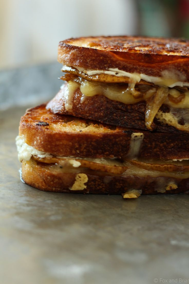 Honey Roasted Pear, Goat Cheese and Caramelized Onion Grilled Cheese ...