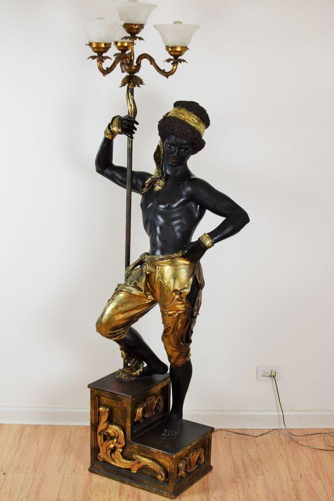 Vintage Life Size Italian Blackamoor Floor Lamp Statue