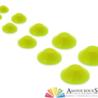 Use Fluorescent Yellow Hotfix Candy Rhinestones for the brightest and most fun way to decorate your clothing