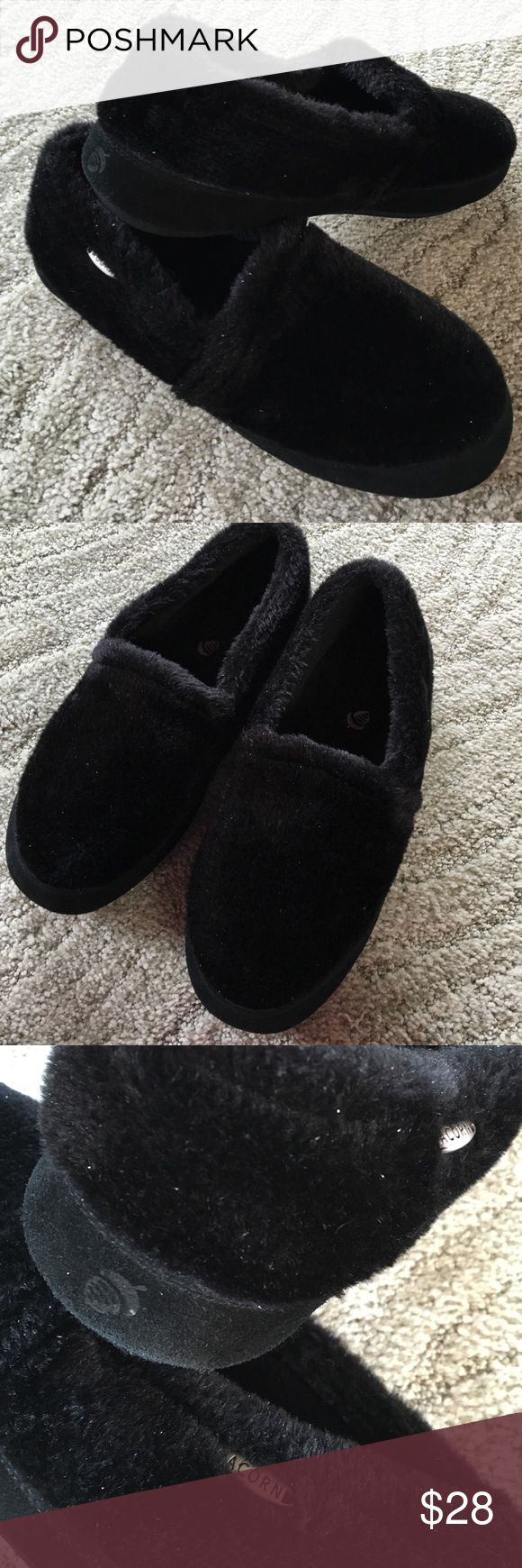 ACORN slippers black sparkles Sz 9 1/2 -10 1/2 ACORN Black slippers with sparkles size 9 1/2 to 10 1/2. Gently used. Small signs of wear on the bottom heel portion. Never worn outside.  Great for fall and winter! Acorn Shoes Slippers