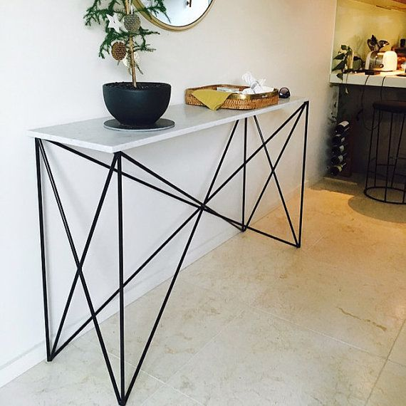 White Marble Criss Cross Console Table