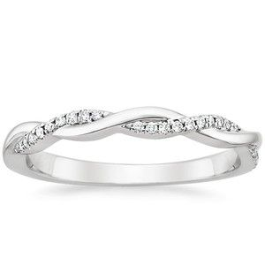 18K White Gold Petite Twisted Vine Diamond Ring, top view                                                                                                                                                                                 More