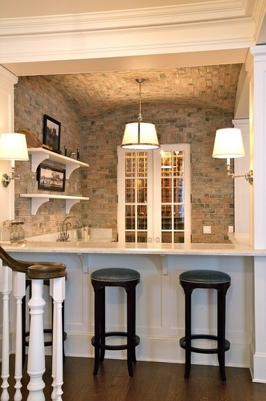 finished basement ideaS'Mores Bar, Bricks Wall, Finished Basements, Finish Basements, Bar Ideas, Basements Bar, Wet Bars, Bar Area, Basements Ideas