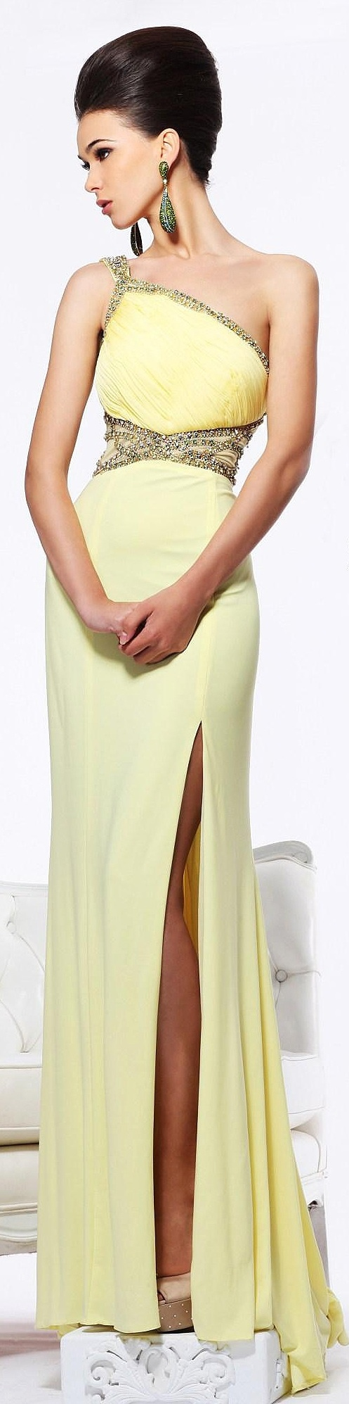Sherri hill yellow grecian style gown evening dresses