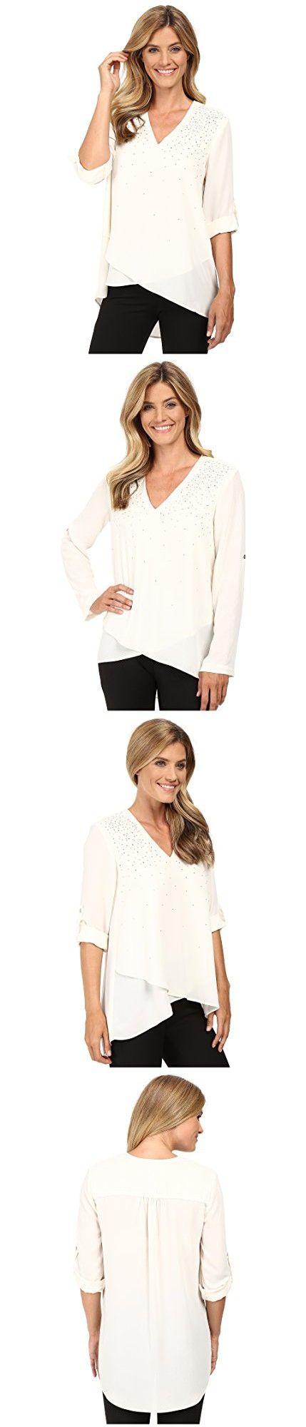 Karen Kane Women's Embellished Asymmetrical Hem Top Cream Shirt