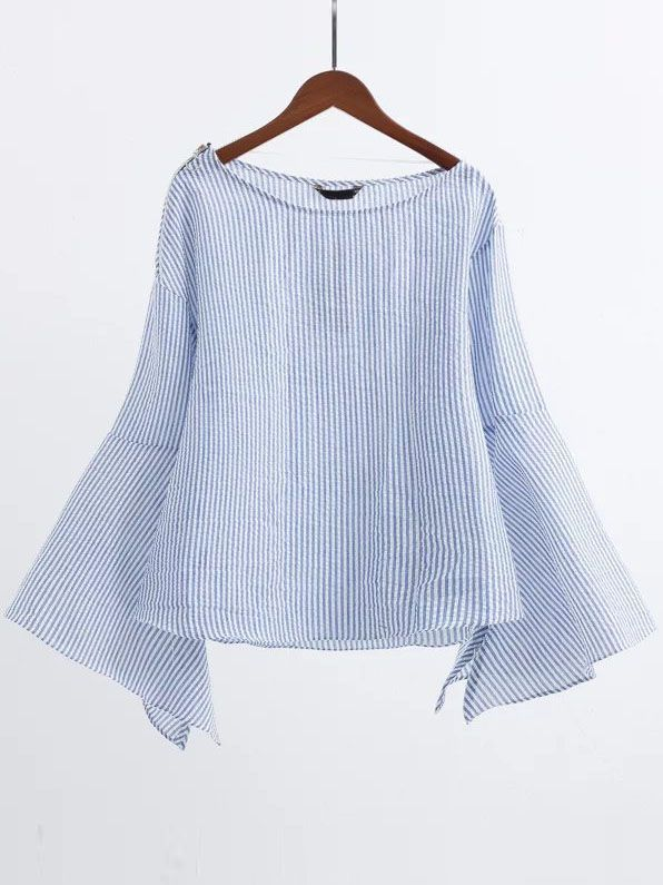 Blue Boat Neck Slit Bell Sleeve Blouse With Zipper — 0.00 € -----color: Blue size: L,M,S