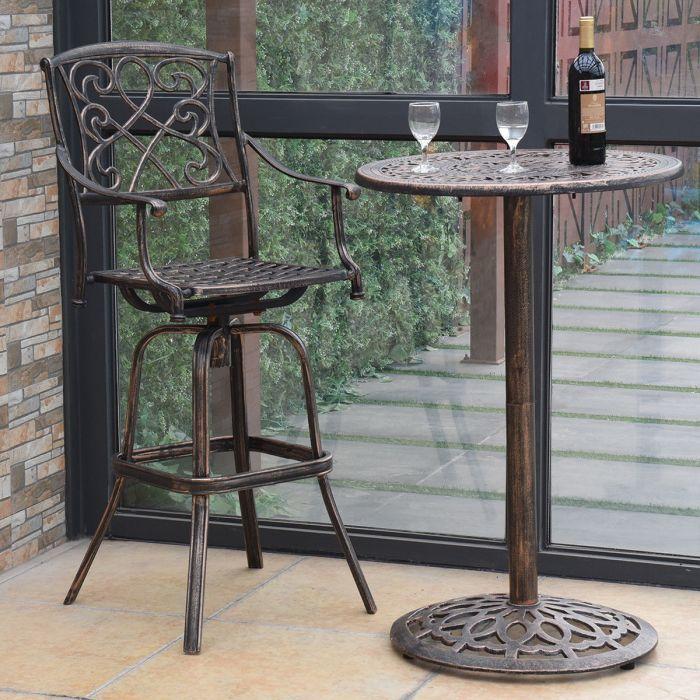 34 Off Outdoor Pub Bistro Cast Aluminum Round Bar Table Vintage
