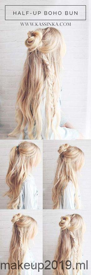 Beste kapsels voor lang haar – Boho Braided Bun Hair – Stap voor stap tutorials