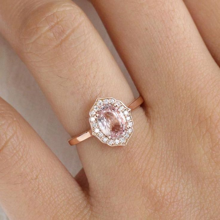 Vintage Floral Peach Sapphire Engagement Ring in 14k Rose Gold, Size 6.25