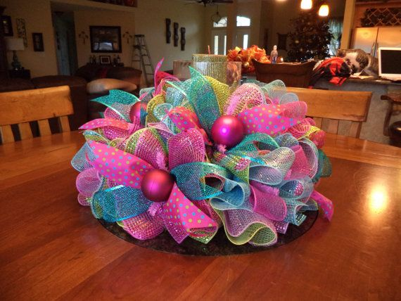 Easter Spring Pastel Deco Mesh Tabel Centerpeice by DecoDzigns, $75.00