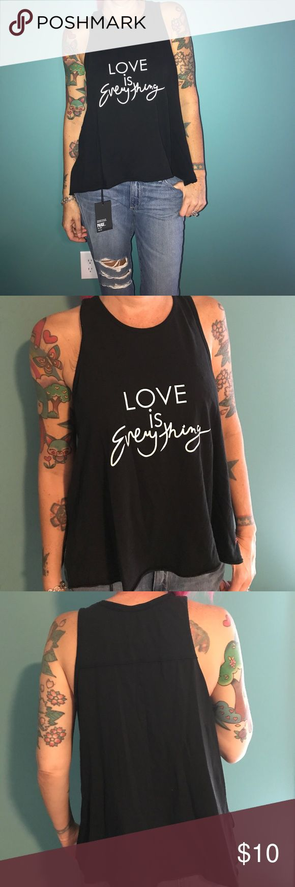Black Peace Love World tank Super cute, soft material tank. Perfect condition, well fitting! Peace Love World Tops Tank Tops