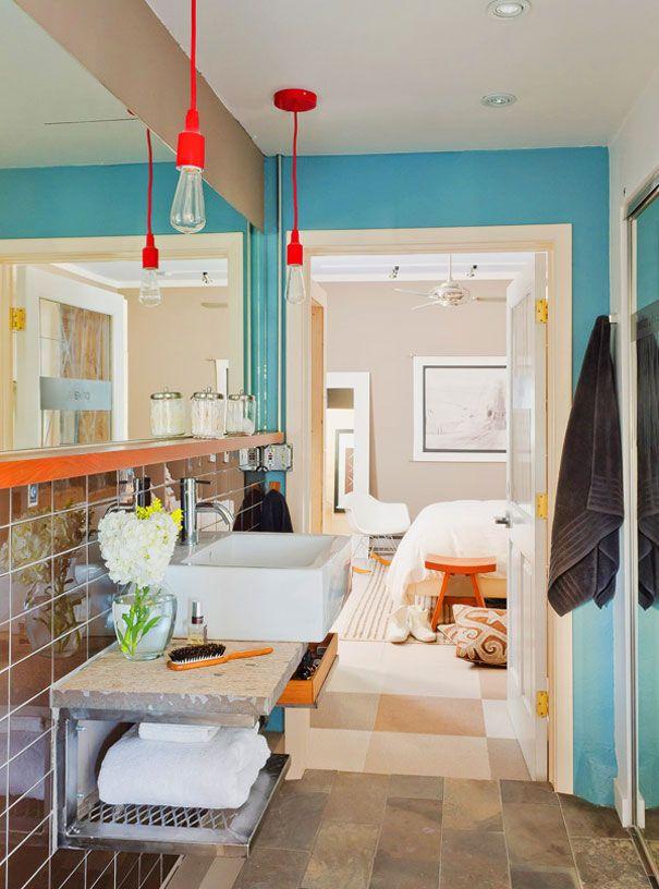 blue bathroom + red pendant