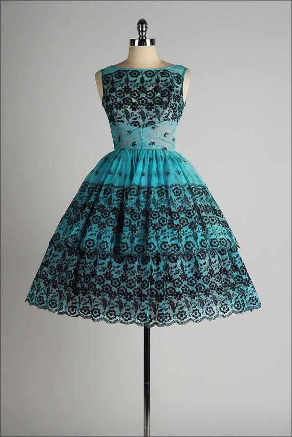 vintage 1950s dress . black glitter flocking