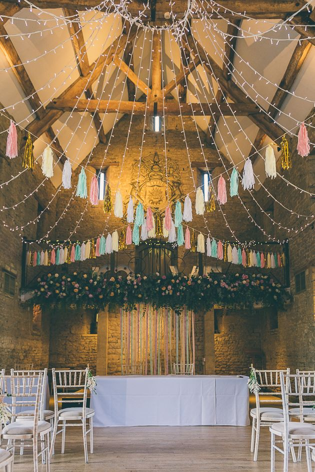 Gorgeous summer wedding at Great Tythe Barn. Image © Rob Tarren. #cotswoldwedding #ceremonystyling