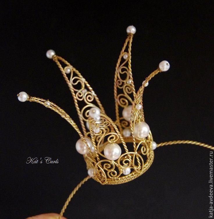 Купить Корона для принцессы латунь - белый, жемчужный, корона, корона принцессы, корона для фотосессии