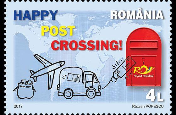Romania Postcrossing Set.  Issue Date: 24.02.2017 Designer: Razvan Popescu Process: Offset Colours: 4 Colours Size: Stamp size: 48 x 33mm, Minisheet size: 160 x 115 mm Values: 4 Lei