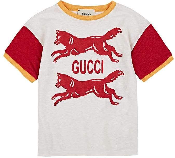 0520be52bef1 Gucci Kids  Wolf-Print Linen T-Shirt Gucci  ShopStyle  MyShopStyle ...