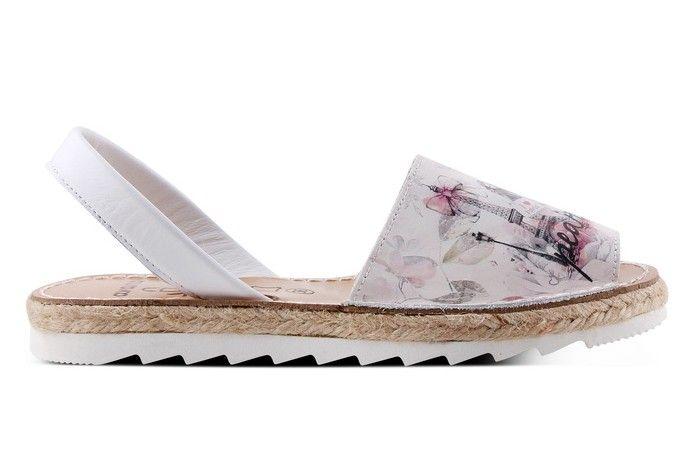 Sandale Avarca Menorquinas de dama din piele naturala, Divine, alb